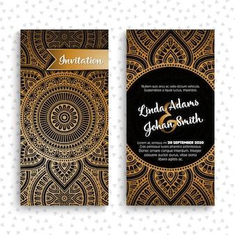 Tarjetas de invitación de boda de lujo con mandala