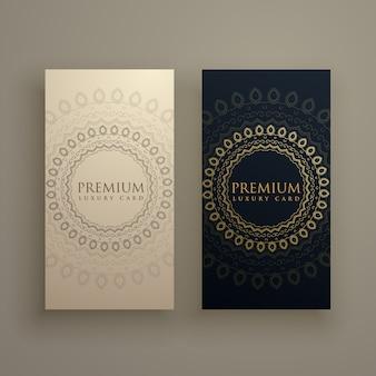 Tarjetas de mandala en estilo dorado premium