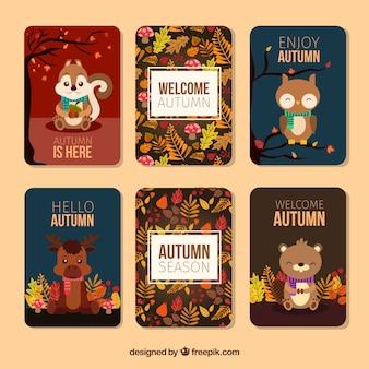 Tarjetas de otoño adorables con animales