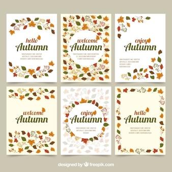 Tarjetas de otoño con hojas y estilo elegante