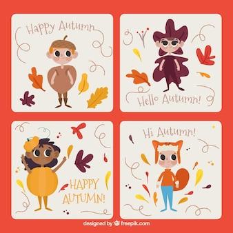 Tarjetas de otoño con niños disfrazados