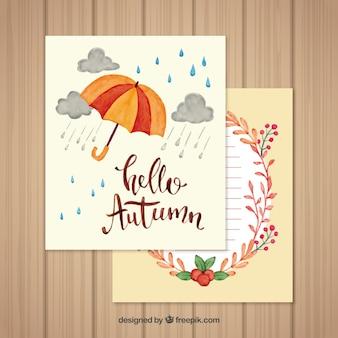 Tarjetas de otoño dibujadas a mano