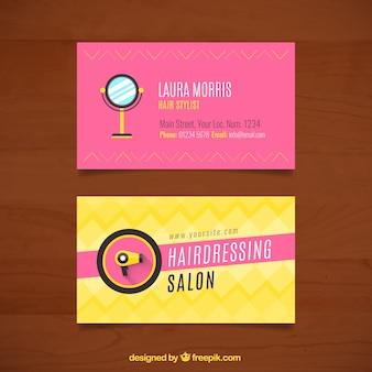 Tarjetas de peluquería con espejo y secador de pelo