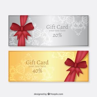 Tarjetas de regalo de oro y plata