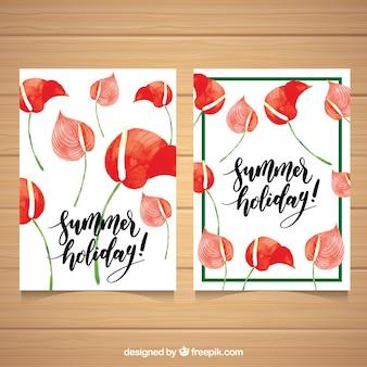 Tarjetas de verano con flores de acuarela