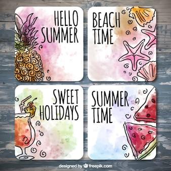 Tarjetas de verano de acuarela con dibujos