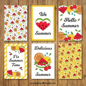 Tarjetas de verano de sandía dibujadas a mano