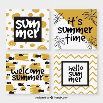 Tarjetas de verano doradas