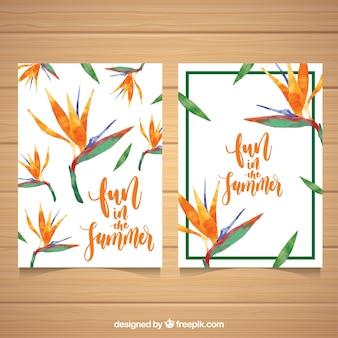 Tarjetas de veranoc on flores exóticas de acuarela