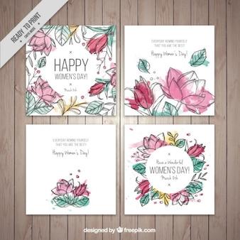 Tarjetas del día de la mujer florales de acuarela