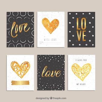 Tarjetas del día de San Valentín doradas