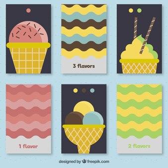 Tarjetas divertidas de helados con líneas de ondas