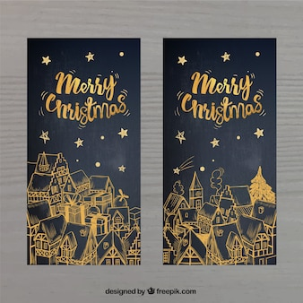 Tarjetas doradas de felicitación de navidad