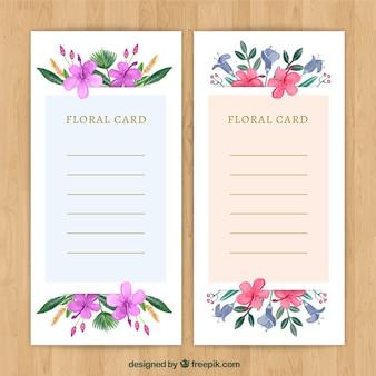 Tarjetas elegantes florales de acuarela