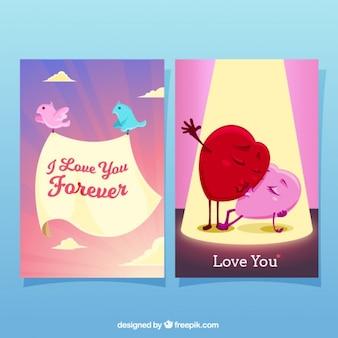 Tarjetas impresionantes con pájaros y corazones para el día de san valentín