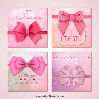 Tarjetas rosas de San Valentín con un lazo grande