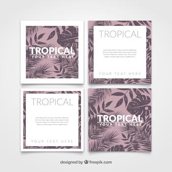Tarjetas tropicales en estilo vintage