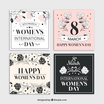 Tarjetas vintage con bocetos florales del día de la mujer