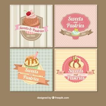 Tarjetas vintage de panadería