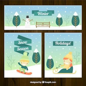 Tarjetas y banner de estación de invierno