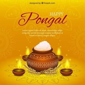 Tarro de arroz Pongal sobre fondo amarillo