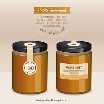 Tarros realistas de miel ecológica