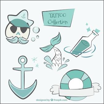 Tatuajes marineros dibujados a mano
