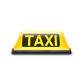 Taxi cartel amarillo del techo del coche aislado en blanco