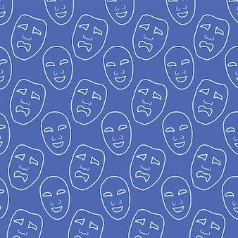 Teatro-máscara-mano-dibujo-vector