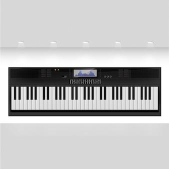Teclado sintetizador negro