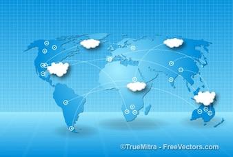 Tecnología mundial mapa empresarial de fondo climático cartografía