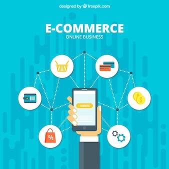Teléfono e iconos de comercio online