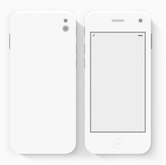 Teléfono Inteligente Con Aislado. Blanco realista