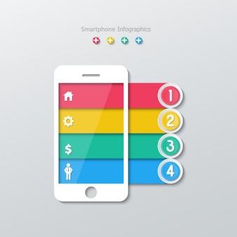 Teléfono inteligente con barras de colores numeradas