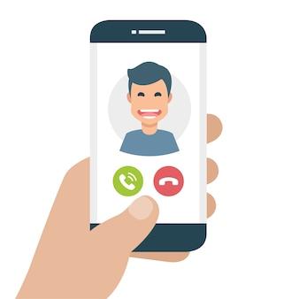 Teléfono móvil con llamada entrante