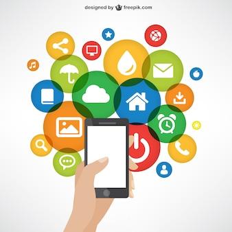 Teléfono móvil con los iconos de aplicación