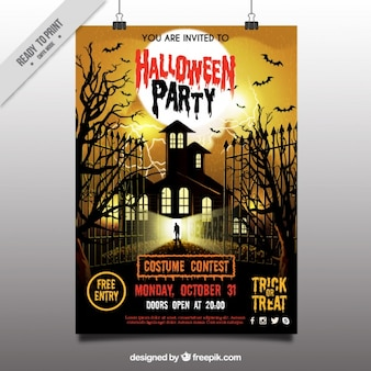 Terrorifico cartel de fiesta de halloween