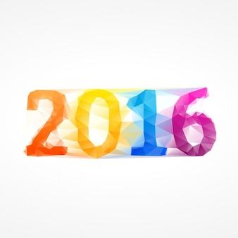 Texto colorido de 2016 con pocos polígonos