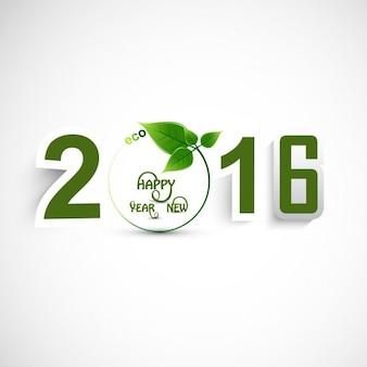 Texto de año nuevo 2016 con hojas
