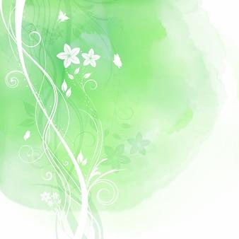 Textura de acuarela verde con elementos florales