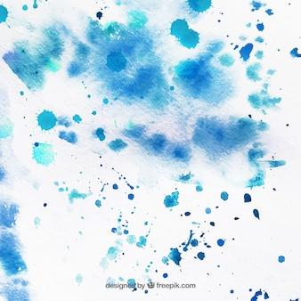 Textura de papel con manchas de acuarela azul