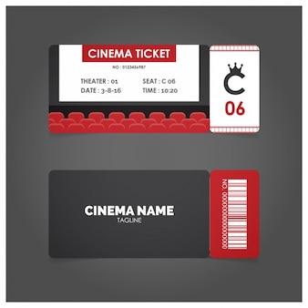 Ticket de cine con detalles en rojo