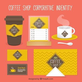 Tienda de café amarilla identidad corporativa