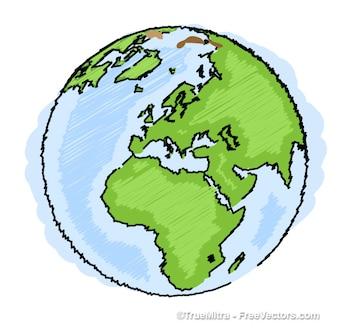 Tierra azul dibujo vectorial Infografía verde