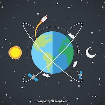 Tierra con cohete y satélites