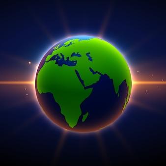 Tierra de fondo con efecto de luz brillante
