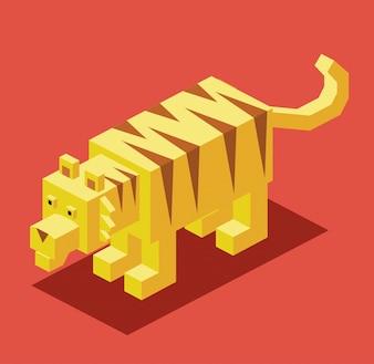 Tigre con diseño isométrico