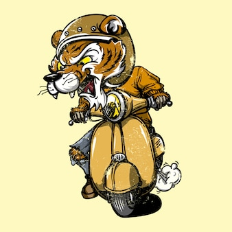 Tigre montando en moto