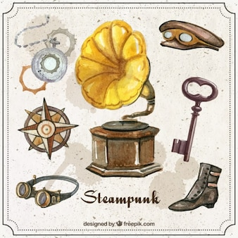 Tocadiscos con accesorios steampunk de acuarela