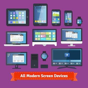 Todos los dispositivos modernos de la pantalla